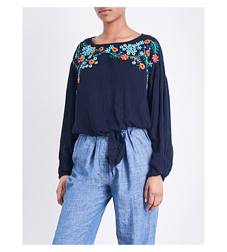 FREE PEOPLE Up and Away woven top (Indigo+blue