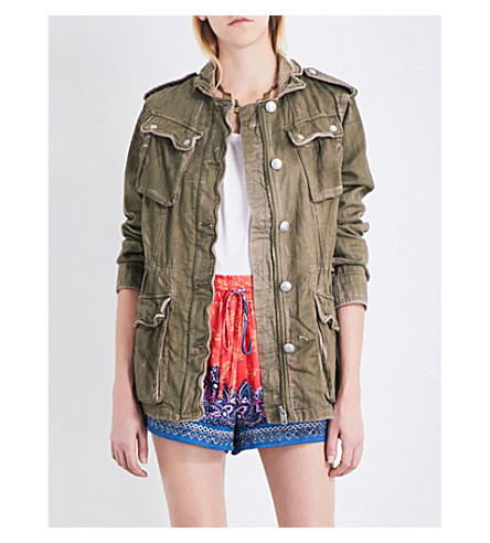 FREE PEOPLE Double Cloth Military denim jacket (Moss