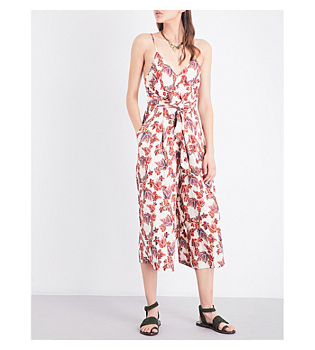 FREE PEOPLE Hot Tropics printed crepe jumpsuit (Neutral+combo