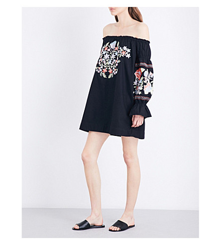 FREE PEOPLE Fleur du Jour off-the-shoulder cotton-twill mini dress (Black