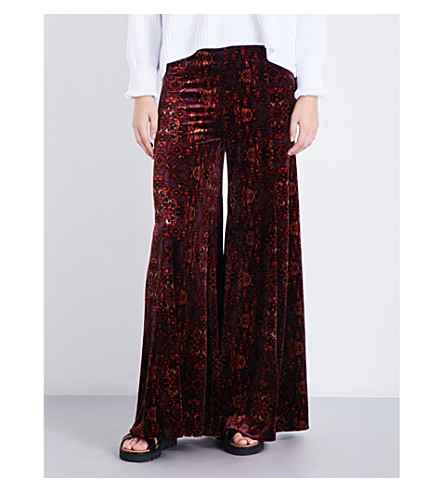 FREE PEOPLE Lovin' Feeling velvet trousers (Red