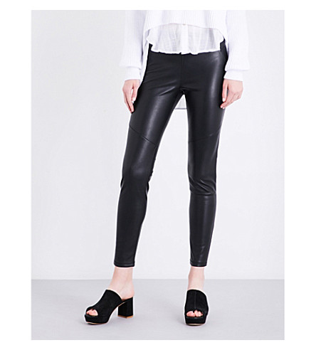 FREE PEOPLE High-rise faux-leather leggings (Black