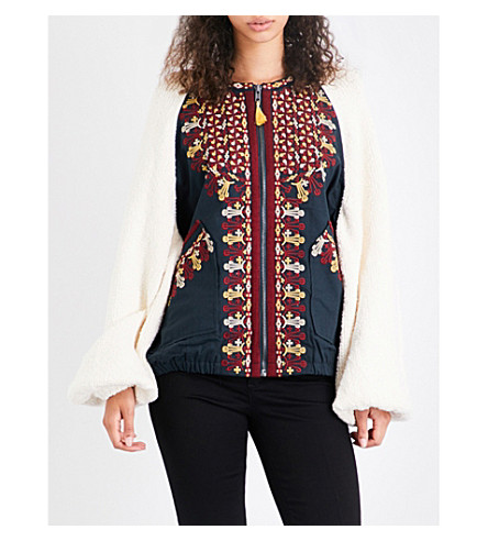 FREE PEOPLE Two Faced cotton-knitted jacket (Ivory