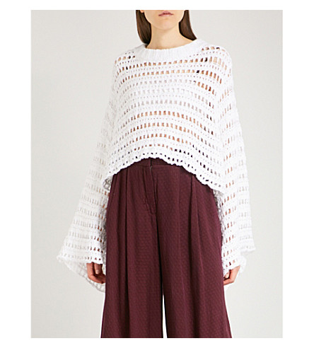 FREE PEOPLE Caught Up cotton-blend jumper (White