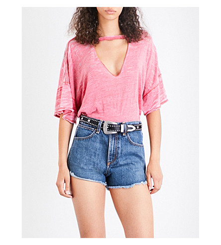 FREE PEOPLE Jordan choker jersey T-shirt (Red