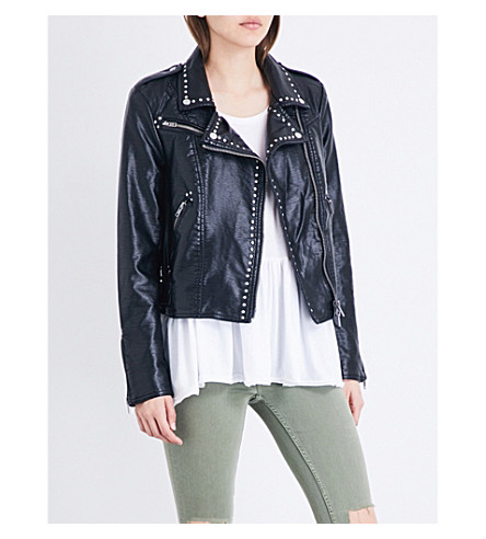 FREE PEOPLE Studded vegan moto faux-leather jacket (Black