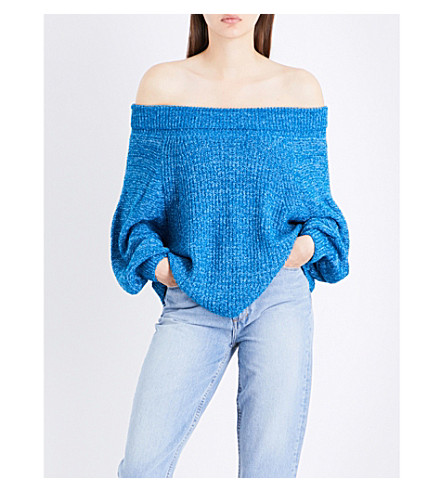 FREE PEOPLE Edessa cotton-blend jumper (Blue