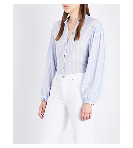 FREE PEOPLE Headed to the Highlands cotton-blend shirt (Blue