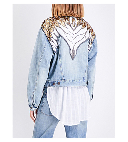 FREE PEOPLE Sequin-embellished denim jacket (Indigo+blue