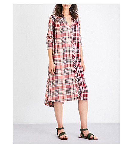 FREE PEOPLE Checked woven shirt dress (Pink