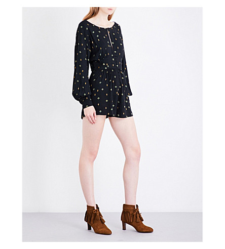FREE PEOPLE Love Grows floral woven playsuit (Black+combo