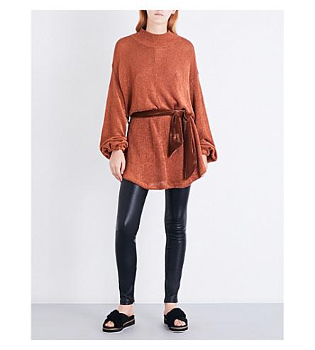 FREE PEOPLE Fete tie-waist knitted dress (Terracotta
