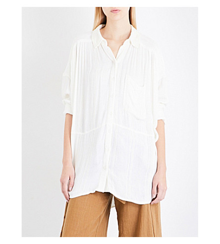 FREE PEOPLE Cozy nights embroidered shirt (Ivory