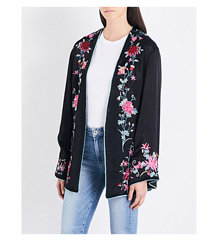 FREE PEOPLE Self-tie floral-embroidered satin jacket (Black+combo