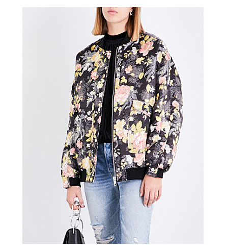 FREE PEOPLE Floral jacquard bomber jacket (Black+combo