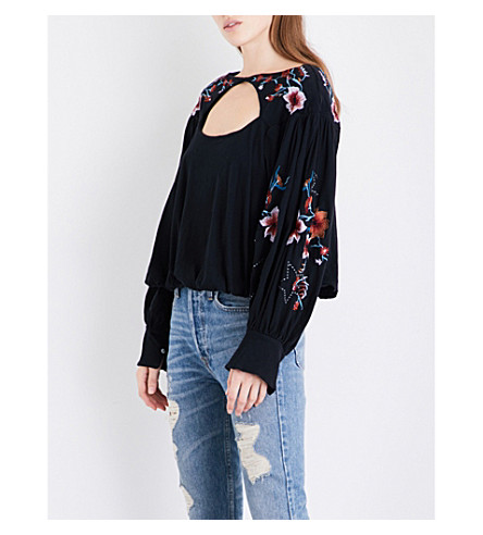 FREE PEOPLE Lita embroidered cotton and linen-blend top (Black