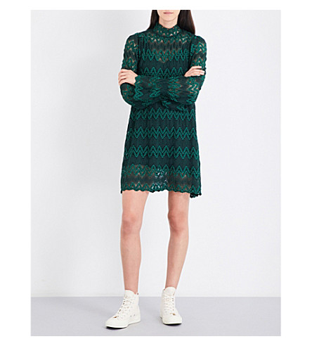 FREE PEOPLE Simone high-neck lace mini dress (Green+combo