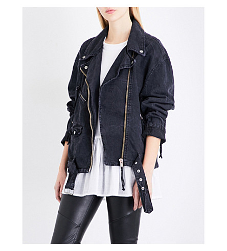 FREE PEOPLE Moto denim jacket (Black