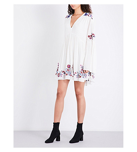 FREE PEOPLE Te Amo floral-embroidered woven dress (Neutral+combo
