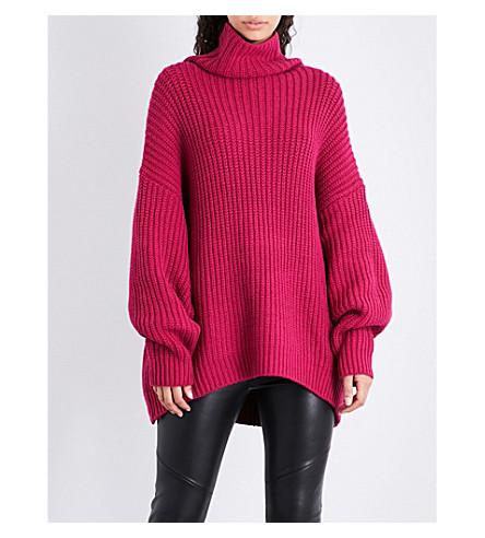 FREE PEOPLE Swim too deep turtleneck cotton-blend jumper (Pink