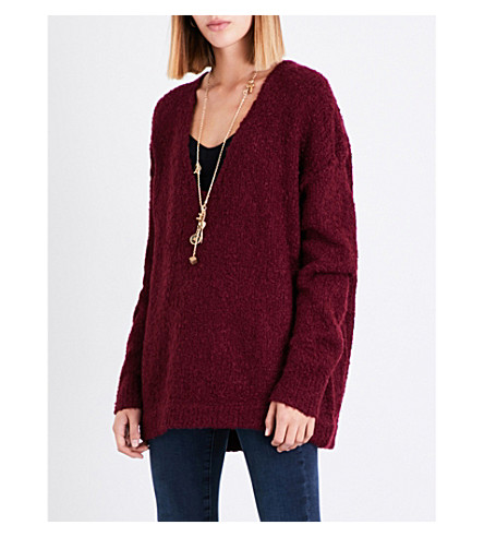 FREE PEOPLE Lofty knitted jumper (Wine