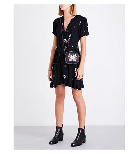 FREE PEOPLE Dream Girl crepe dress (Black+combo
