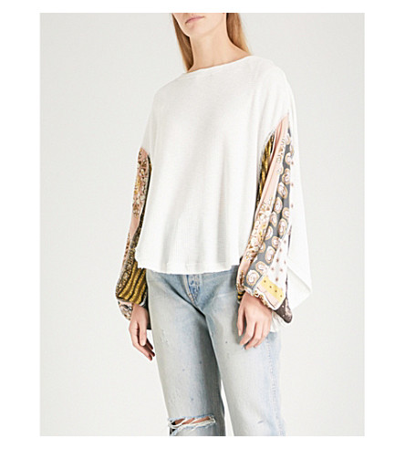 FREE PEOPLE Blossom contrast-sleeve knitted jumper (Ivory