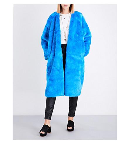 FREE PEOPLE Magnolia faux-fur coat (Ocean+blue