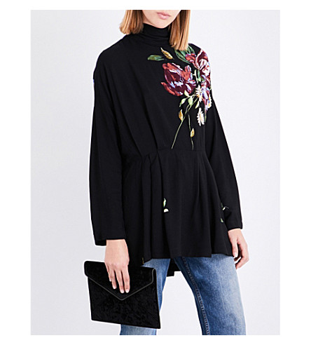 FREE PEOPLE Gemma floral-detail woven tunic (Black