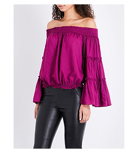 FREE PEOPLE Free Spirit off-the-shoulder woven top (Pink