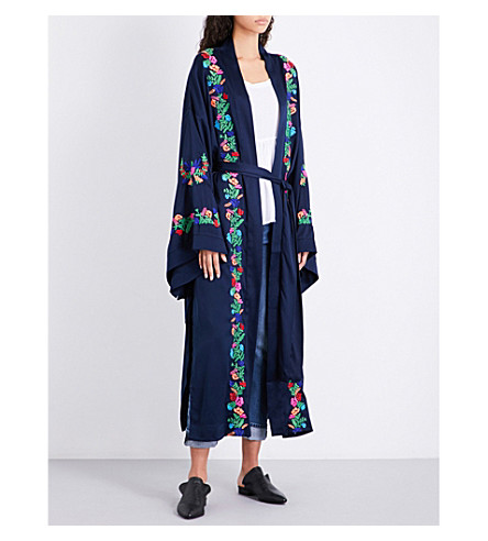 FREE PEOPLE Floral-embroidered satin kimono (Navy/blue