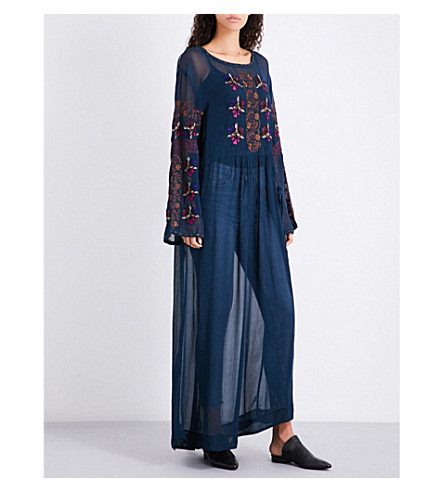 FREE PEOPLE Metallic-floral woven maxi top (Navy