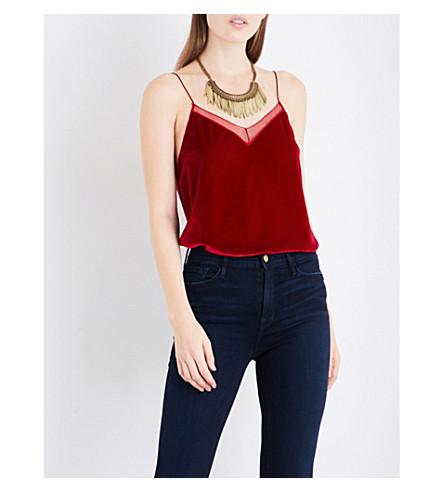 FREE PEOPLE Mesh-trim sleeveless velvet top (Red