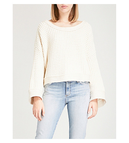 FREE PEOPLE Maybe Baby lace-up cotton-blend sweatshirt (Ivory
