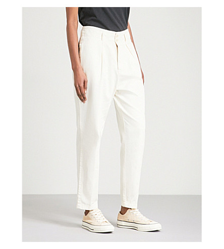 FREE PEOPLE Tapered cotton trousers (Ivory