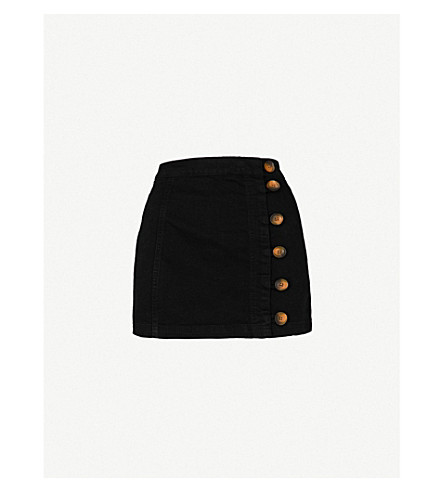 FREE PEOPLE Little Daisies cotton-blend mini skirt (Black