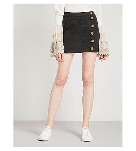 FREE PEOPLE Little Daisies cotton-blend mini skirt (Black