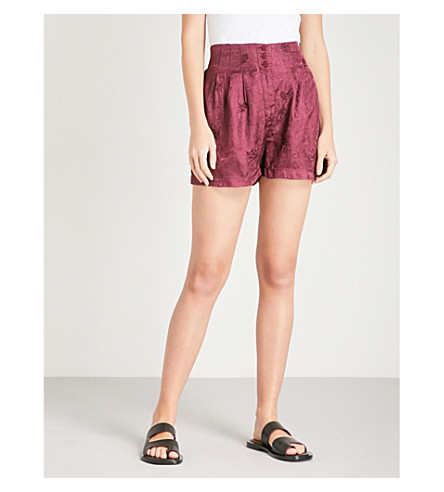 FREE PEOPLE Go Your Own Way jacquard shorts (Purple+combo