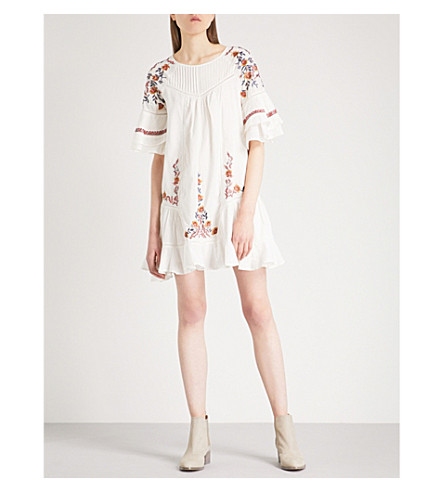 FREE PEOPLE Pavlo embroidered cotton mini dress (Ivory