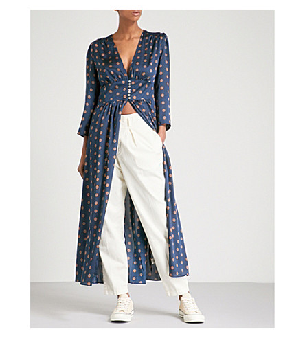 FREE PEOPLE Alexa printed satin maxi dress (Navy