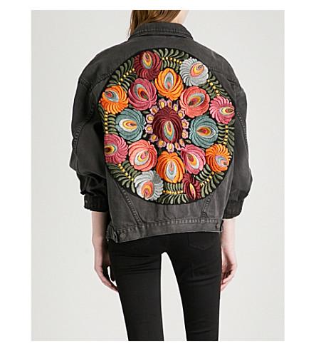FREE PEOPLE Embroidered denim jacket (Black
