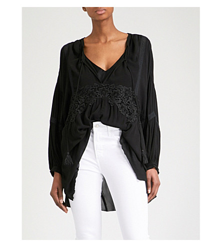 FREE PEOPLE Sleepin n Dreamin woven shirt (Black