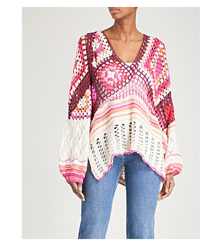 FREE PEOPLE Call Me crocheted knitted-cotton jumper (Multi