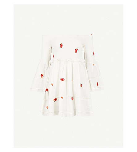 FREE PEOPLE Count Daisies off-the-shoulder cotton-blend dress (Ivory+combo