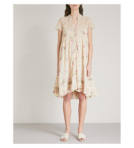 FREE PEOPLE Decadent floral-embroidered cotton-woven dress (Neutral+combo