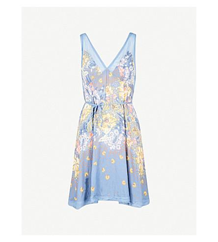 FREE PEOPLE Longwood floral-print woven dress (Blue