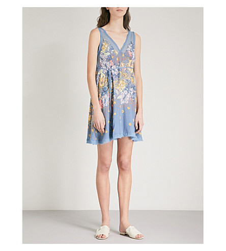FREE PEOPLE Longwood floral-print woven dress (Blue
