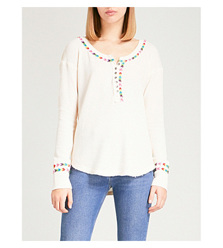 FREE PEOPLE Rainbow thermal cotton-blend top (Ivory
