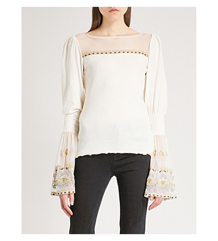 FREE PEOPLE High Tides cotton and mesh shirt (Ivory