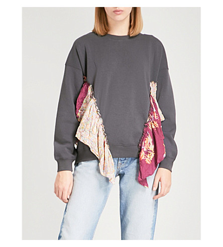 FREE PEOPLE She's Just Cute floral-trimmed jersey sweatshirt (Black